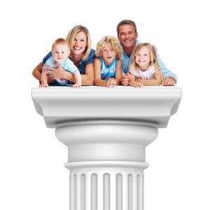 Family on a pedestal