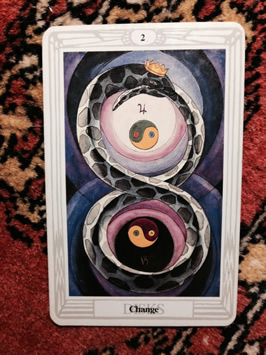 Two of Disks, the Book of Thoth painted by Lady Frieda Harris according to instructions from Aleister Crowley / Photo by Heron Michelle