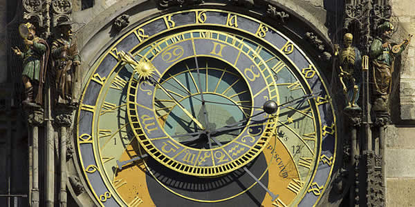 """Czech-2013-Prague-Astronomical clock face"" by Godot13 - Own work. Licensed under CC BY-SA 3.0 via Commons"