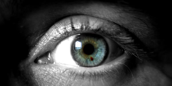 a close-up image of a blue, green human eye