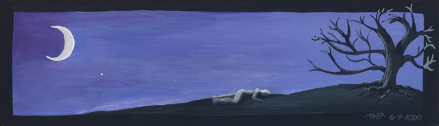 a woman laying on the ground beneath a crescent moon
