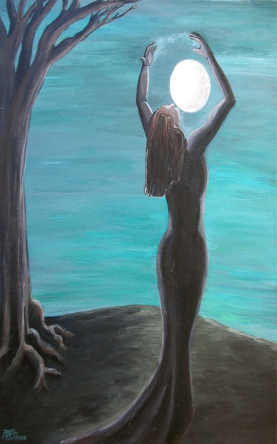 a woman with arms raised appearing to clasp the moon