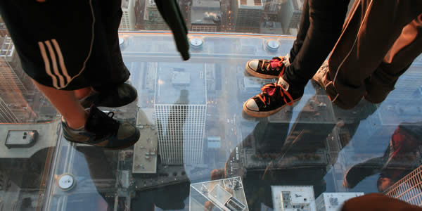 1,353 feet (412 meters) above Wacker Drive in the Sears Tower, Chicago