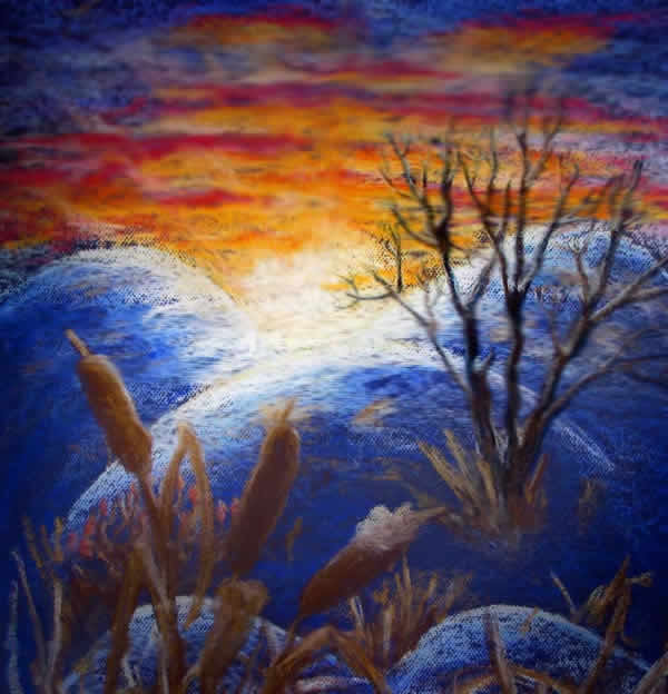 a painting of a sunset behind snow covered hills