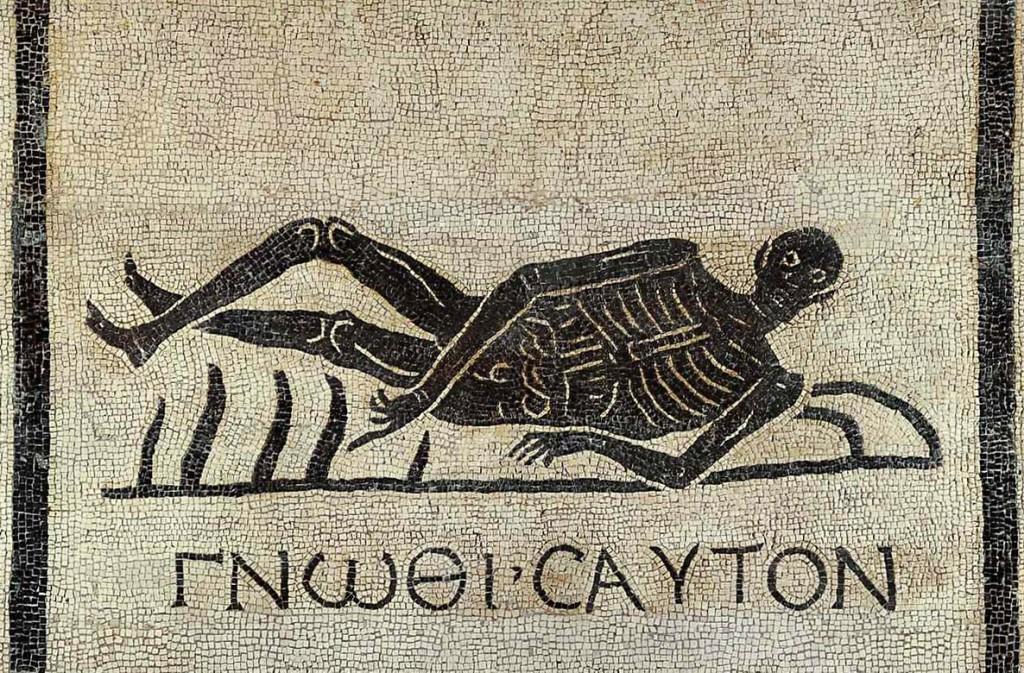 Roman mosaic: Know Thyself. CC0, Public Domain
