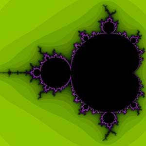 a graphic of the Mandelbrot set, a fractal image