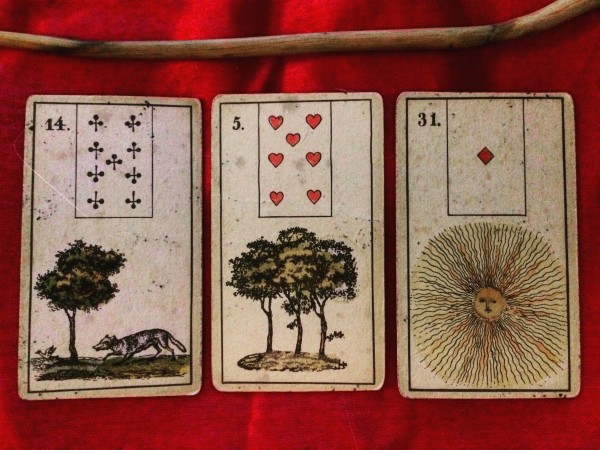 playing cards with the images of a fox, trees, and the sun on them