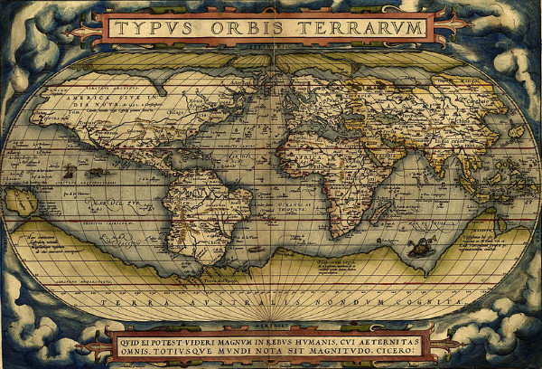 """Ortelius World Map"" from 1570. From WikiMedia."