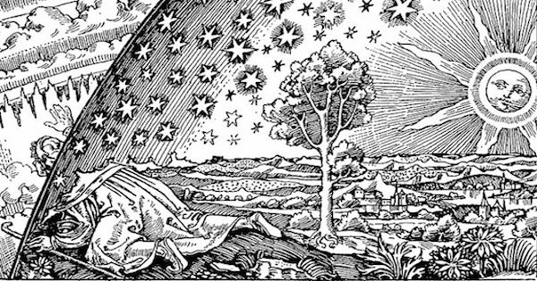 """""""The Firmament """"(illustration from Camille Flammarion's 1888 L'atmosphère: météorologie populaire)  From WikiMedia."""