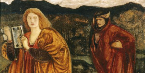 """""""Merlin and Nimue"""" by Edward Burne-Jones.  From WikiMedia."""