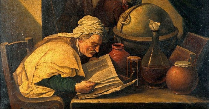 """""""An Alchemist in His Laboratory"""" by David Teniers the Younger. F rom WikiMedia."""