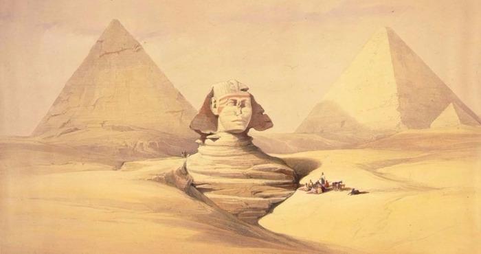 """The Great Sphinx"" by David Roberts (1839). Read more at http://admin.patheos.com/blogs/agora/?p=16234#yr8dhRTk7u2oM0LG.99"