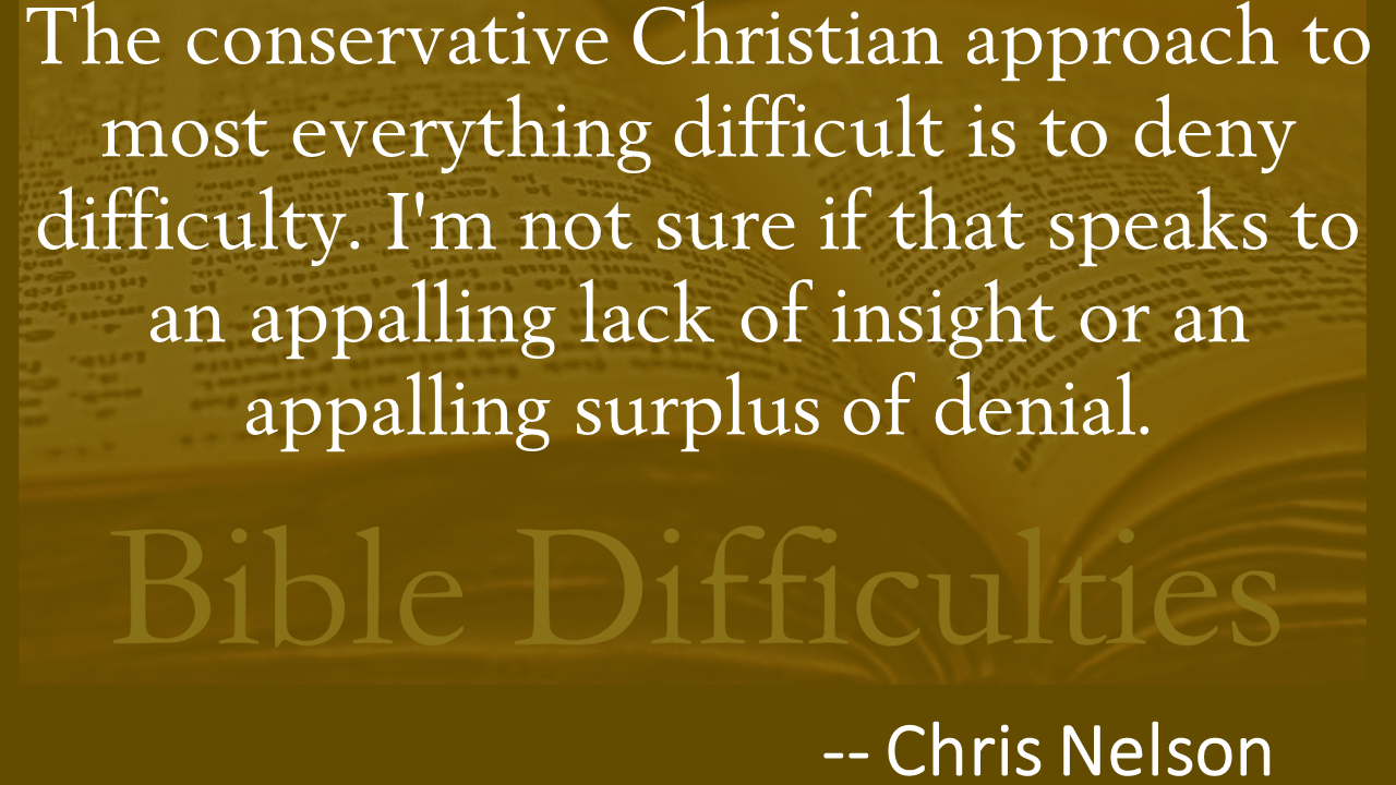 The conservative Christian approach to most everything difficult