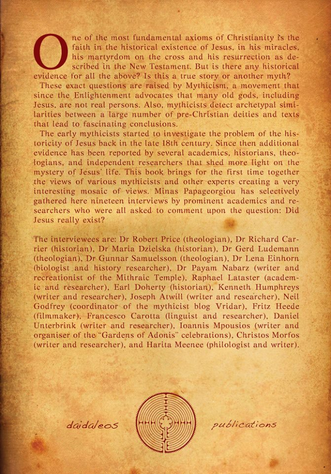 Jesus Mythicism An Introduction back cover