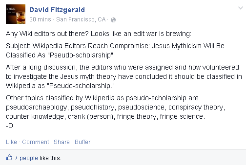 Mythicism as pseudoscholarship on Wikipedia