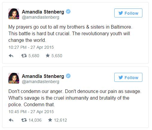 Amandla Stenberg tweets