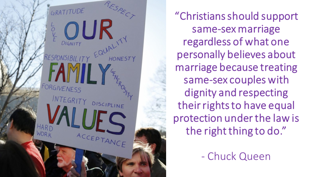Christians should support same-sex marriage - Chuck Queen quote