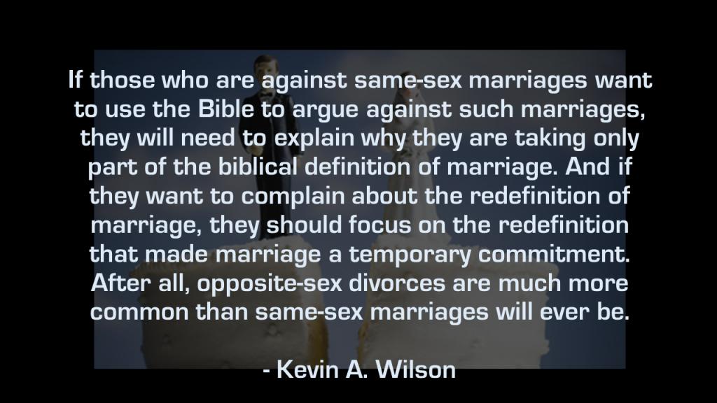 Heterosexual divorces and same-sex marriages