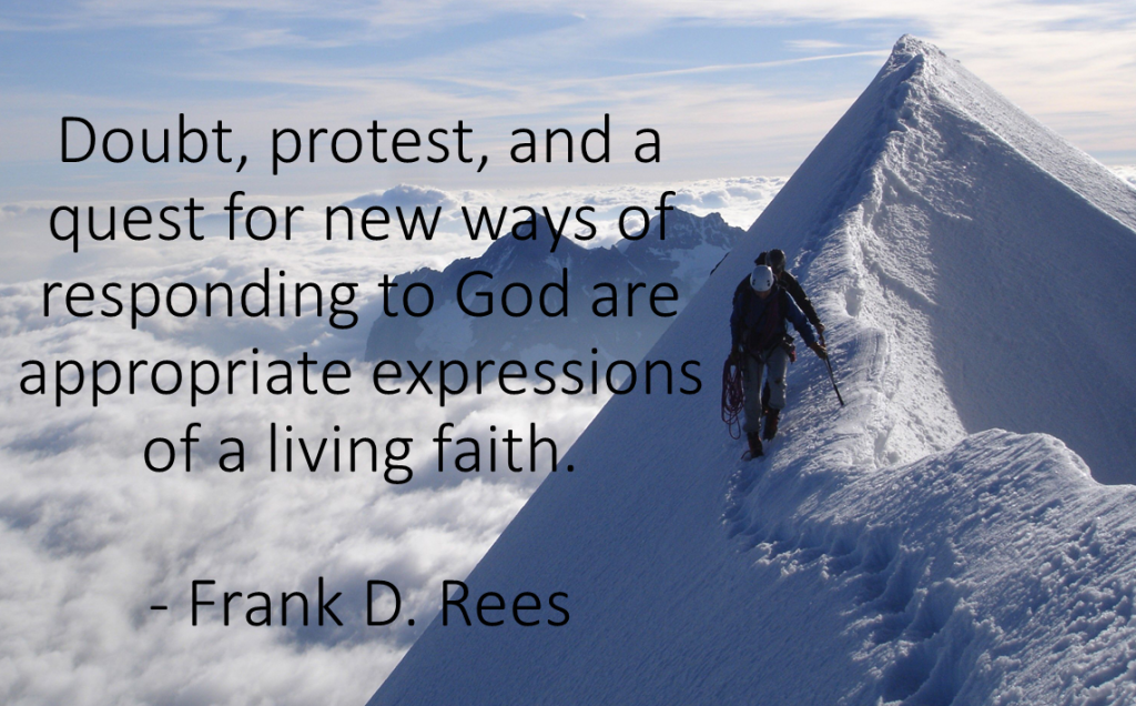 Doubt, protest, and a quest Rees quote