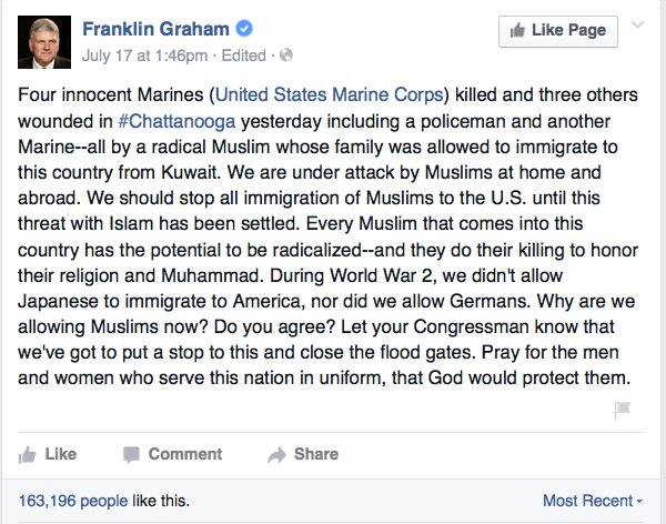 Franklin Graham tweet