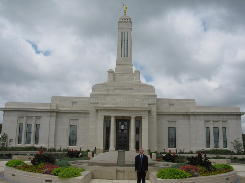 James in front of Mormon temple
