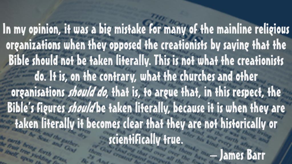 James Barr Bible literalism mistake