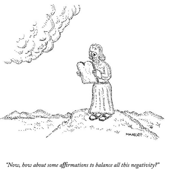 New Yorker affirmations negativity commandments