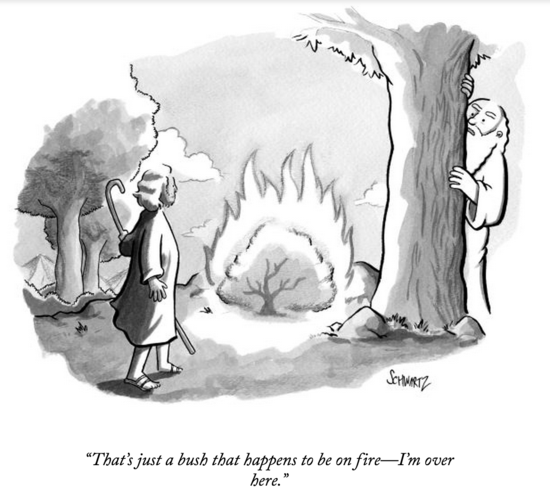 New Yorker burning bush cartoon