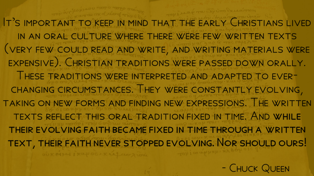 Chuck Queen Quote - Their faith never stopped evolving, nor should ours