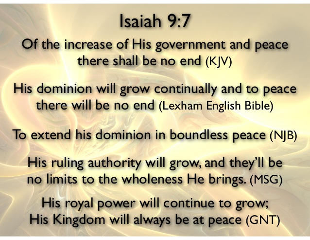 Slide by Brent Lokker highlighting different translations of Isaiah 9:7
