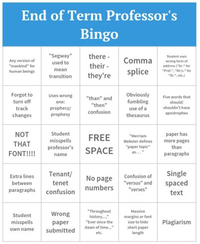 End of Term Professor's Bingo