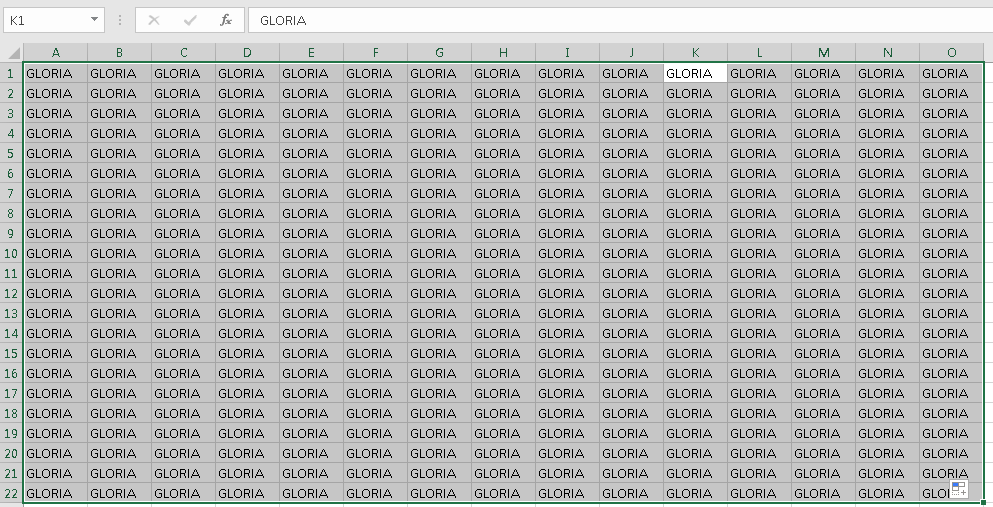 Gloria in Excel sheets