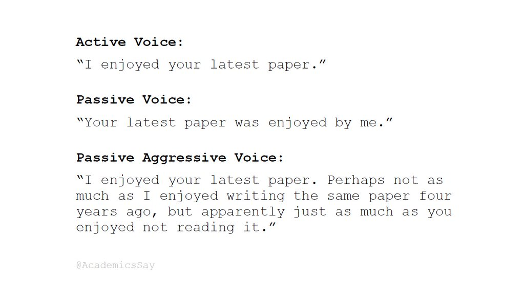 Academic passive-aggressive voice