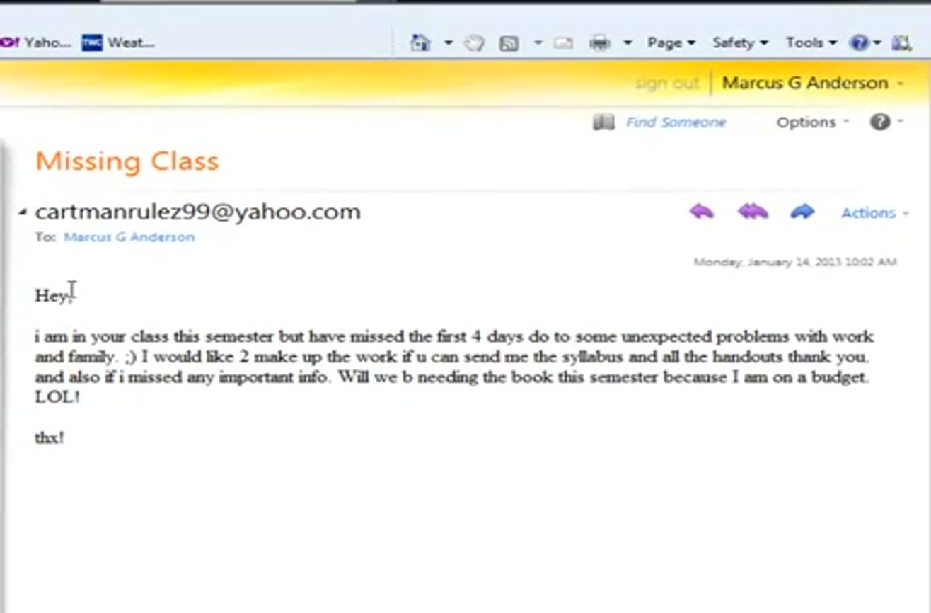 how not to email your prof