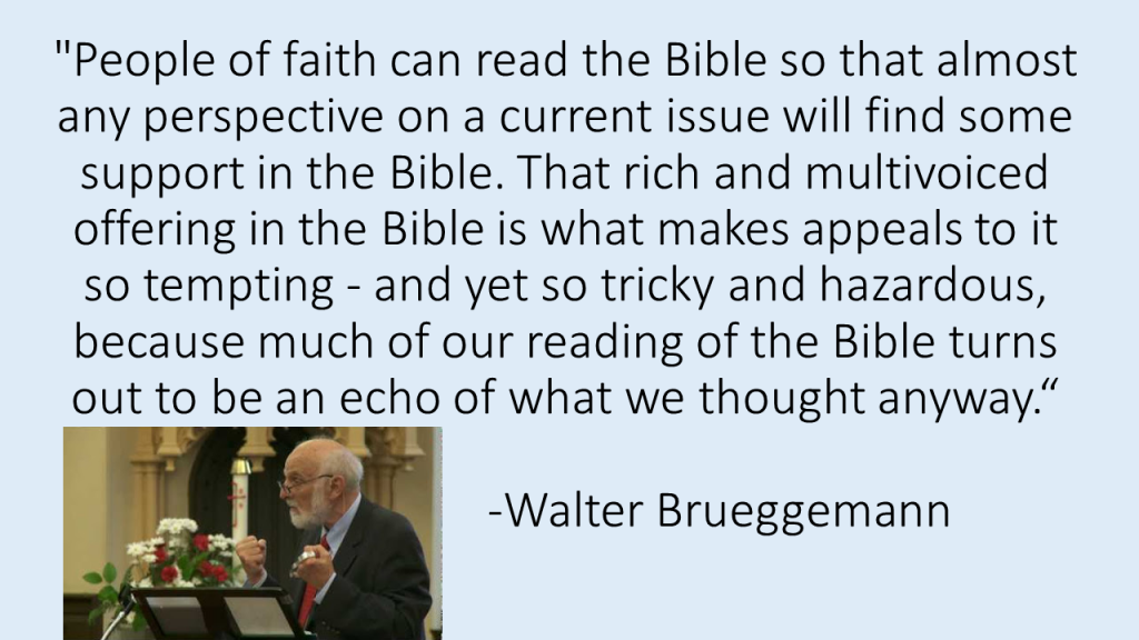 Bruggemann Bible echoes quote
