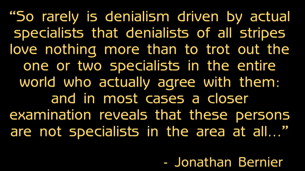 Bernier Denialism Quote