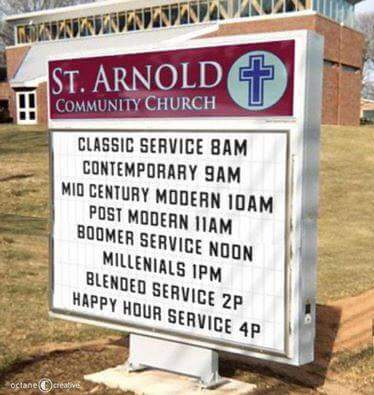 Services church sign