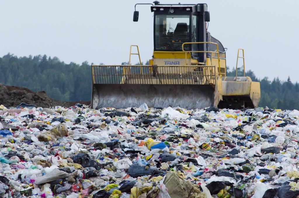 Bulldozer at landfill