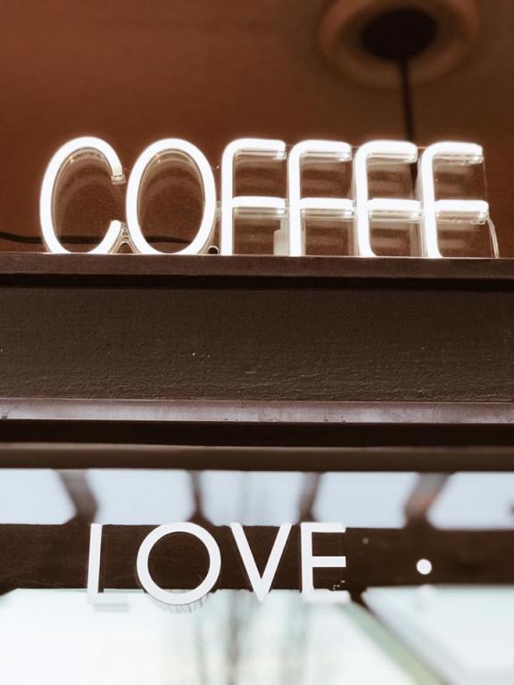 Sign in Coffee shop window