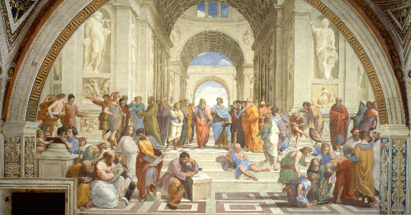 """The School of Athens"" by Raphael.  From WikiMedia."