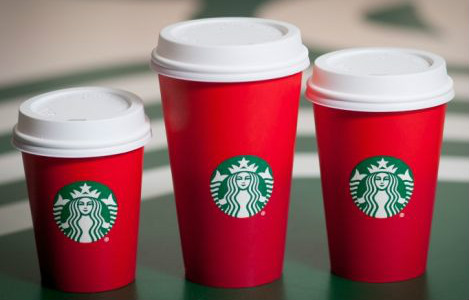 Red cups, from the Starbucks website.