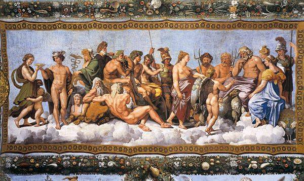 Assembly of 20 Gods, by Raphael.  From WikiMedia.