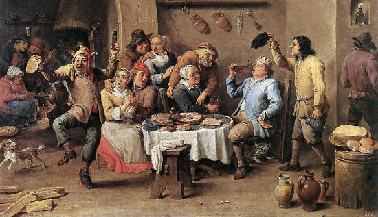 """""""Twelfth Night (The King Drinks)"""" by David Teniers.  From WikiMedia.  (Your Yule doesn't look like this?)"""