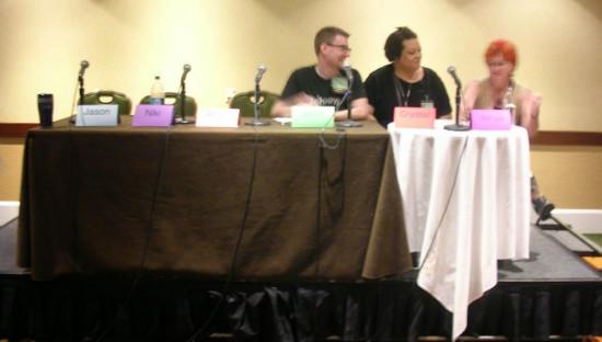 Last year's Patheos Pagan Panel-John Halstead, Crystal Blanton, Jenya T. Beachy.  Photo by Angus.