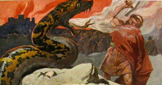 """""""Thor and the Midgard Serpent"""" by Emil Doepler,  From WikiMedia"""