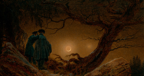 """Two Men Contemplating the Moon"" by Caspar David Friedrich.  From WikiMedia."