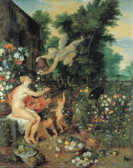 Flora and Zephyr by Jan Brueghel from Wikipedia Commons.