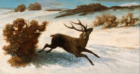 """Deer Running in the Snow"" by Gustave Courbet, from WikiMedia."