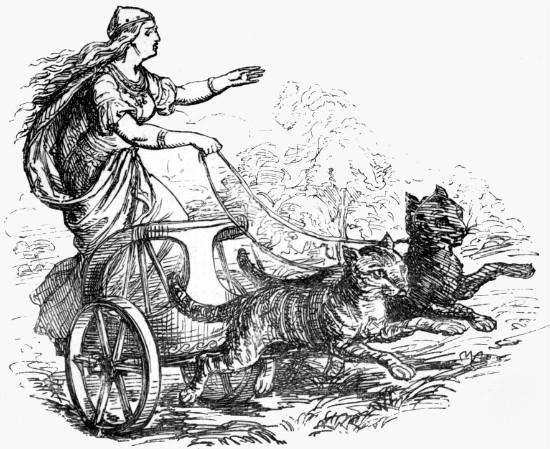 """Freyja from Alexander Murray's """"Manual of Mythology.""""  From WikiMedia."""