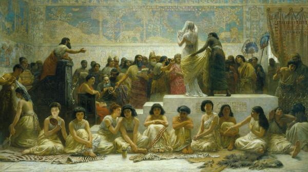 """""""Babylonian Marriage Market"""" by Edwin Long.  From WikiMedia."""